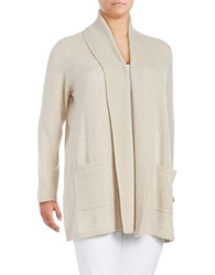 Lord And Taylor Plus Cashmere Shawl Collar Cardigan Stone Heather