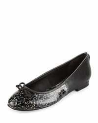 Sam Edelman Circus Banks Faux Leather Glitter Flat Black