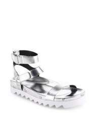 Rebecca Minkoff Elora Metallic Leather Ankle Strap Sandals Silver