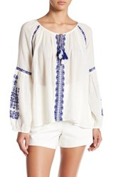 Gypsy 05 Embroidered Romantic Raglan Blouse Blue