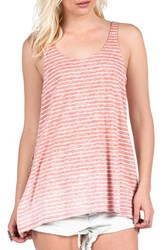 Women's Volcom Split Hem Stripe Cotton Tank Burnt Red