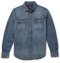 Jean Shop Distressed Denim Shirt Blue
