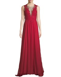 Catherine Deane Lova Plunge Illusion Low Back Gown W Tulle And Lace Red