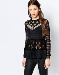 Hazel Lace Peplum Blouse Black