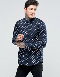 Fred Perry Shirt With Polka Dot In Navy In Slim Fit Navy