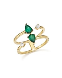 Bloomingdale's Emerald And Diamond Double Row Ring In 14K Yellow Gold 100 Exclusive Green Gold