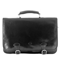 Maxwell Scott Bags Luxury Italian Leather Men's Large Satchel Bag Jesolo Night Black