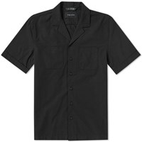 Wings Horns Short Sleeve Deck Vacation Shirt Black