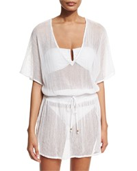Vitamin A Lucette V Neck Cotton Gauze Tunic Coverup Honeycomb Mesh