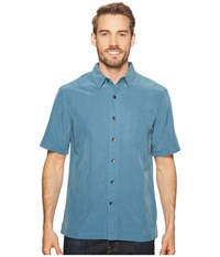 Royal Robbins Desert Pucker S S Blue Stone Short Sleeve Button Up
