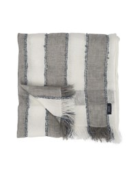 Armani Jeans White And Gray Striped Linen Scarf