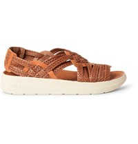Malibu Missoni Canyon Two Tone Woven Faux Leather Sandals Orange