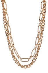 Spring Street 2 Row Chain Link Necklace Metallic