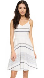 Three Dots Gretta Tie Back Dress White Denim