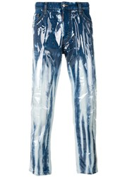 Dsquared2 Glam Head Bleached Varnish Jeans Men Cotton Polyester Spandex Elastane Pvc 44 Blue