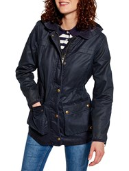 Joules Wax Hooded Parka Marine Navy