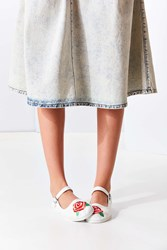 Urban Outfitters Embroidered Rose Mary Jane Flat White