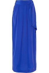 Paper London Washed Silk Crepe Maxi Skirt Bright Blue