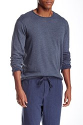 Velvet By Graham And Spencer Long Sleeve Crew Neck Raglan Tee Blue