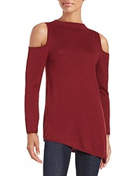 Zero Degrees Celsius Cold Shoulders Ribbed Sweater Wine