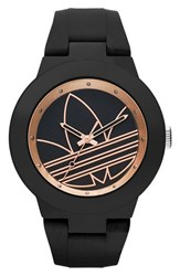 Adidas Women's Originals 'Aberdeen' Silicone Strap Watch 41Mm Black Rose Gold