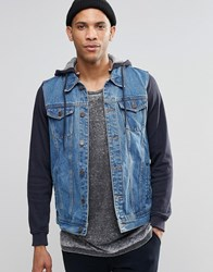 Pull And Bear Denim Jacket With Jersey Hoodie In Navy Blue