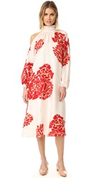 Tibi Asymmetrical Cutout Orla Bloom Dress Ivory Red Multi