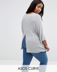 Asos Curve Top With Kimono Sleeve And Split Back In Oversized Fit Grey Marl