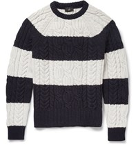 Dunhill Striped Cable Knit Cashmere Sweater Black