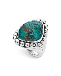 Lagos Sterling Silver Maya Escape Chrysocolla Doublet Dome Ring Teal Silver