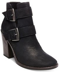 Steve Madden Women's Trevur Buckle Block Heel Booties Women's Shoes Black Leather