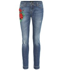 Dolce And Gabbana Embroidered Low Rise Skinny Jeans Blue