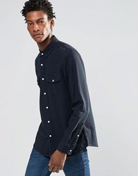 Asos Western Denim Shirt With Distressing In Long Sleeve Blue