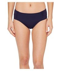 Tommy Bahama Pearl High Waist Side Shirred Bikini Bottom Mare Navy Women's Swimwear