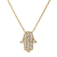 Talia Naomi Hamsa Necklace Gold White