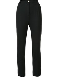 Balmain Pierre High Waisted Cropped Trousers Black
