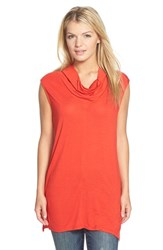 Petite Women's Halogen Sleeveless Drape Neck Tunic Red Bloom