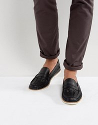 Kg By Kurt Geiger Woven Loafers In Black Leather