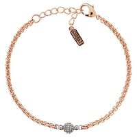 Finesse Swarovski Pave Ball Bracelet Rose Gold