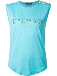 Balmain Sleeveless Top Blue