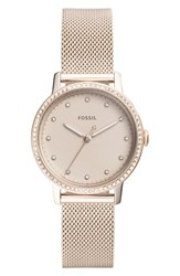 Fossil 'S Neely Crystal Mesh Strap Watch 34Mm Pink