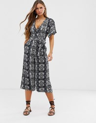 Qed London Printed Wrap Front Jumpsuit Multi