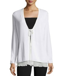 Petite Long Sleeve Tie Front Cardigan White Women's Lafayette 148 New York