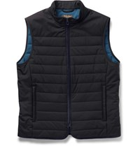 Loro Piana Quilted Storm System Shell Gilet Midnight Blue
