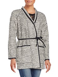 Rebecca Taylor Tweed Belted Jacket Black White