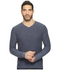 Lucky Brand Spring Weight Slub V Neck Black Iris Men's Clothing
