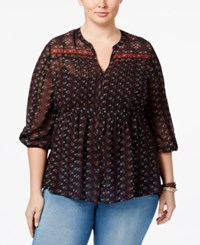 American Rag Trendy Plus Size Printed Babydoll Blouse Only At Macy's Classic Black Combo