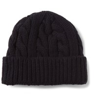 Oliver Spencer Cable Knit Wool Blend Beanie Navy