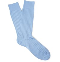 Pantherella Pembrey Ribbed Sea Island Cotton Blend Socks Blue