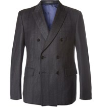 Noah Charcoal Slim Fit Striped Wool Twill Double Breasted Blazer